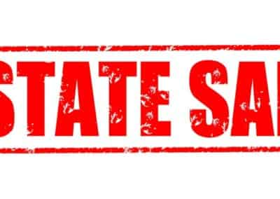 Estate sale on the white background, red illustration